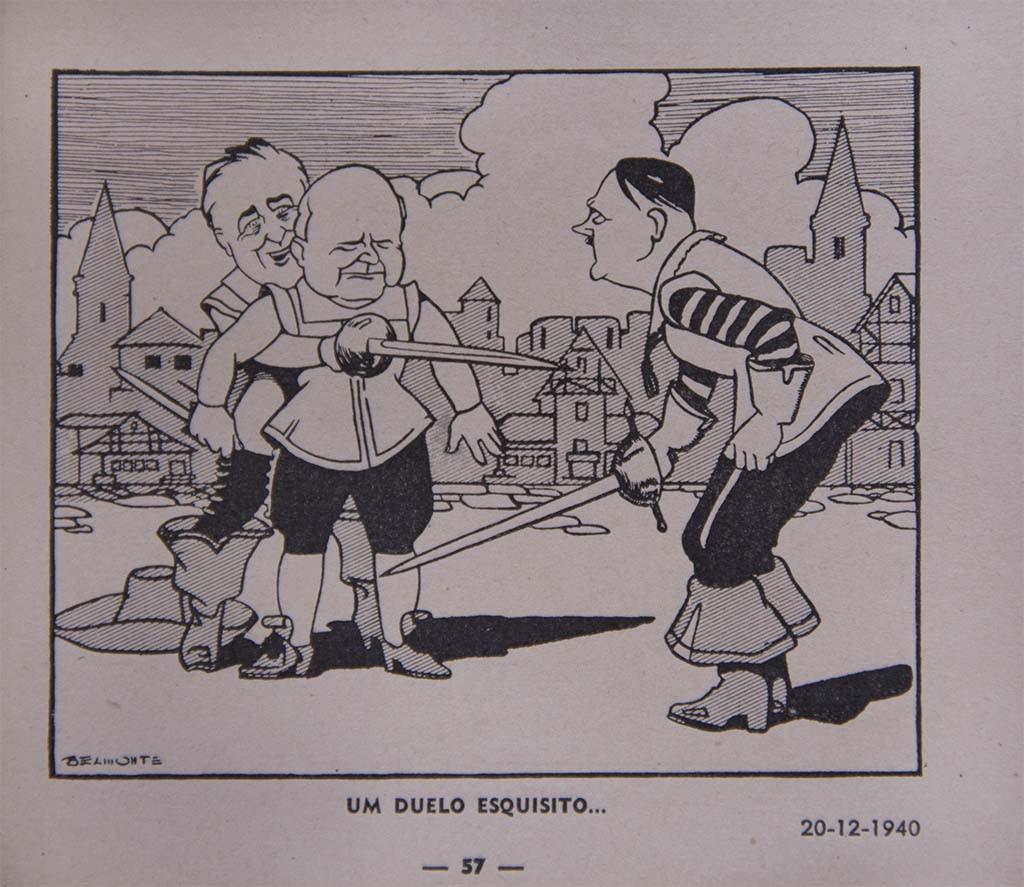 Roosevelt, Winston Churchill, primeiro-ministro do Reino Unido entre 1940 e 1945, e Hitler.