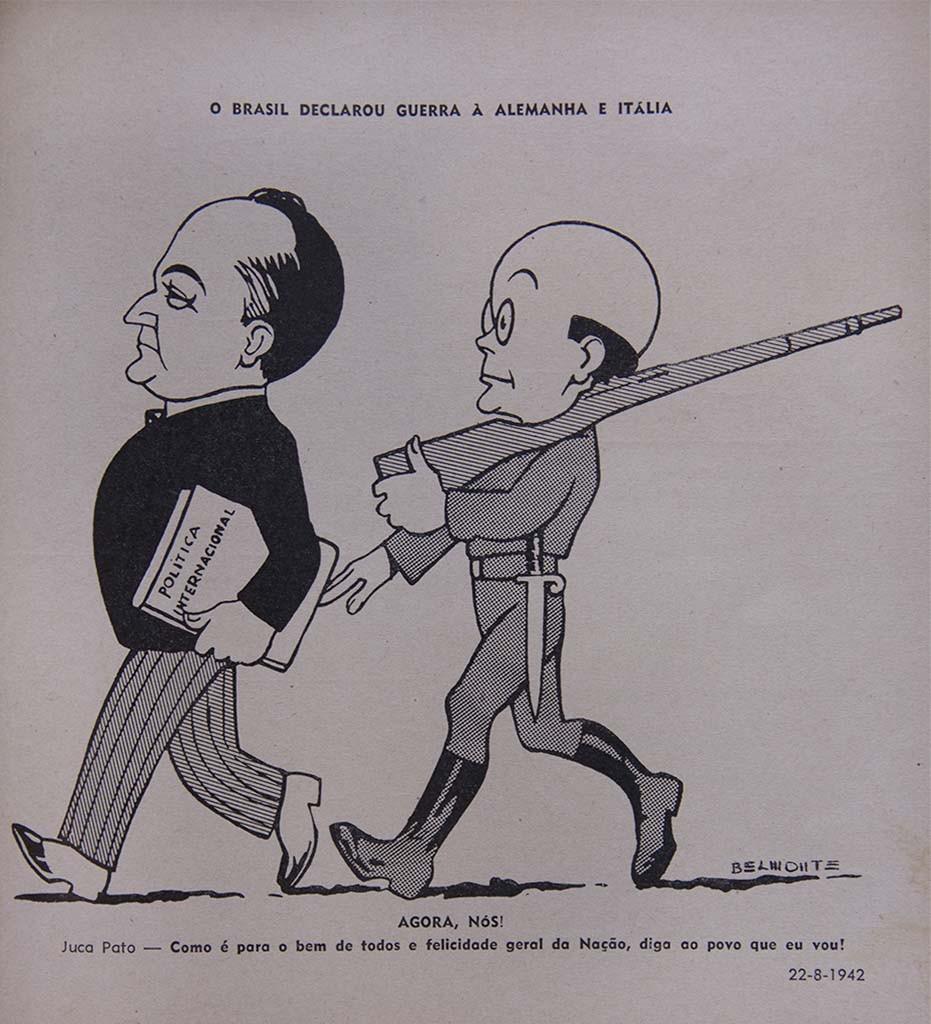 Getúlio Vargas, presidente do Brasil entre 1930 e 1945, e Juca Pato, personagem de Belmonte.