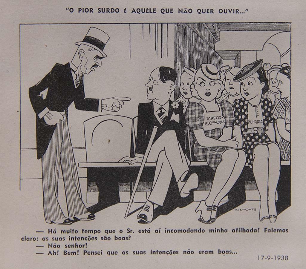 Neville Chamberlain, primeiro-ministro do Reino Unido entre 1937 e 1940, e Adolf Hitler, líder da Alemanha entre 1933 e 1945.