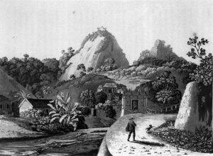 Laranjeiras, Rio de Janeiro (1821). Um dos desenhos de Graham que ilustram seu livro.